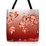World Map In Geometric Red Tote Bag