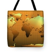 World Map In Gold Tote Bag