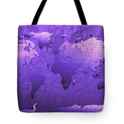 World Map In Purple Tote Bag