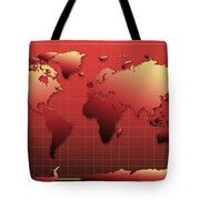 World Map In Red Tote Bag