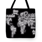 World Map In Text Neon Light Tote Bag
