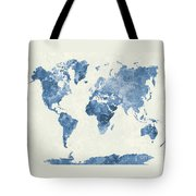 World Map In Watercolor Blue Tote Bag