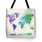 World Map In Watercolor Multicolored Tote Bag