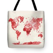 World Map In Watercolor Red Tote Bag