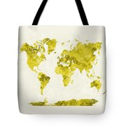 World Map In Watercolor Yellow Tote Bag