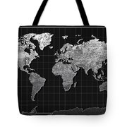 World Map Landmark Black Tote Bag