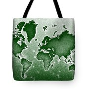 World Map Novo In Green Tote Bag