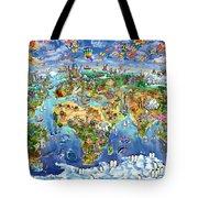 World Map Of World Wonders Tote Bag