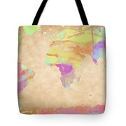 World Map Pastel Watercolors Tote Bag