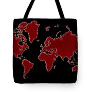 World Map Red Grid Tote Bag