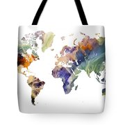 World Map Watercolor Painting Tote Bag