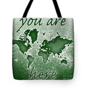 World Map You Are Here Novo In Green Tote Bag