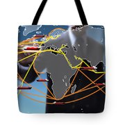 World Shipping Routes Map Tote Bag
