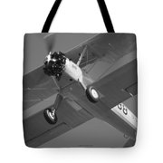 Stearman Trainer Bi Plane Black And White Tote Bag