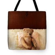 Worn Teddy Bear On Bed Tote Bag