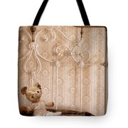Worn Teddy Bear On Brass Bed Tote Bag