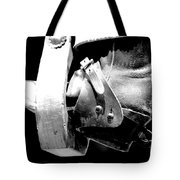 Worn Western Leather Boot With Spur In Stirrup Conte Crayon Black And White Digital Art Tote Bag by Shawn O'Brien
