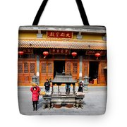 Worshipers In Urn Courtyard Of Chinese Temple Shanghai China Tote Bag