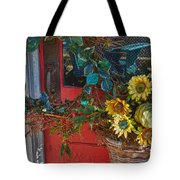 Wreath And The Red Door Tote Bag