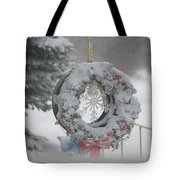 Wreath In A Snow Storm Tote Bag