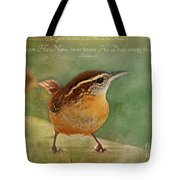 Wren With Verse Tote Bag