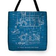 Wright Brothers Aero Engine Vintage Patent Blueprint Tote Bag