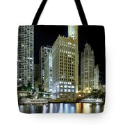 Wrigley Building At Night  Tote Bag