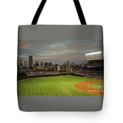 Wrigley Field At Dusk Tote Bag by John Gaffen