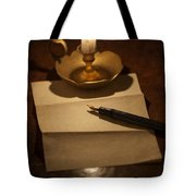 Writing A Letter By Candle Light Tote Bag