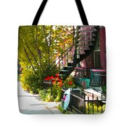 Wrought Iron Fence Balcony And Staircases Verdun Stairs Summer Scenes Carole Spandau  Tote Bag