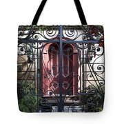 Wrought Iron Gate And Red Door Charleston South Carolina Tote Bag