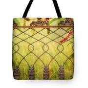 Wrought Iron With Red And Green Tote Bag