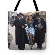 Wyatt Earp  Doc Holliday Escort  Woman  With O.k. Corral In  Background 2004 Tote Bag