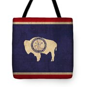 Wyoming State Flag Art On Worn Canvas Tote Bag