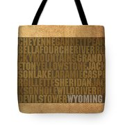 Wyoming Word Art State Map On Canvas Tote Bag by Design Turnpike