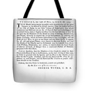 Wythe: Broadside, 1774 Tote Bag