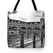 Yacht And Beach Club After The Rain In Black And White Walt Disney World Tote Bag