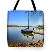 Yacht At The Little Manitou Lake Tote Bag