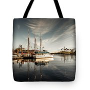 Yacht At The Pier On A Sunny Day Tote Bag