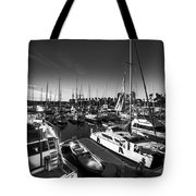 Yacht At The Pier  Tote Bag