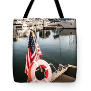 Yacht With American Flag At The Pier  Tote Bag