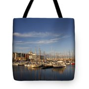 Yachts In A Marina At Sunset Tote Bag