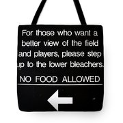 Yankee Stadium Lower Bleachers Sign Tote Bag