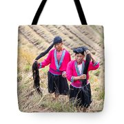 Yao Ethnic Minority Women On Rice Terrace Tote Bag