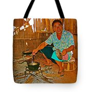 Yao Mien Tribe Man In His Home With His Cooking Pot North Of Chiang Rai In Mae Salong-thailand  Tote Bag