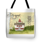Yaquina Bay Lighthouse Or Nautical Chart Map Art Tote Bag