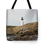 Yaquina Head Lighthouse From The Beach Tote Bag