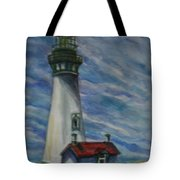 Yaquina Head Lighthouse Original Painting Tote Bag