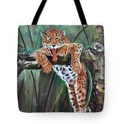 Yawning Leopard Tote Bag