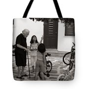 Yaya The Kids And The Cat In A Tree Tote Bag by Lorraine Devon Wilke